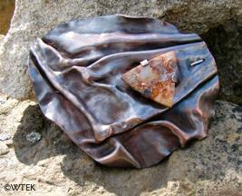 Fold Formed Brooch - Copper & Jasper (with a steel pin)