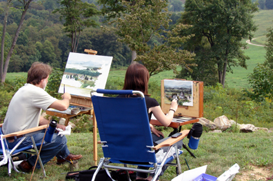 Close up of the two plein air painters.