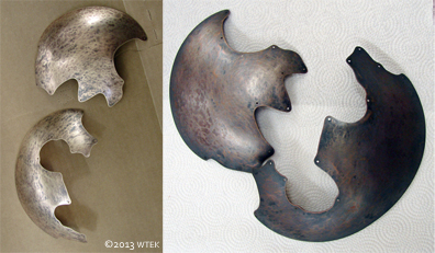 Before and after shots of the liver of sulfur patination of the bronze.