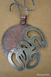 Darkened, riveted, and waxed. ©2013 WTEK copper, sterling silver