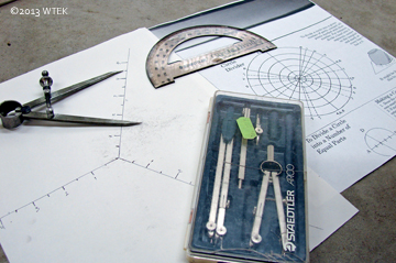 Compass set (from my 2D design class in college), protractor, dividers, and paper circle dividers