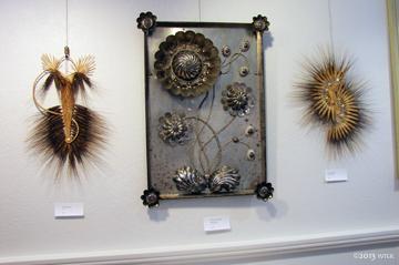 Wheat weavings by Linda Beiler with a piece by Deborah Salamoni