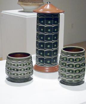Two Faceted Tea Bowls & Faceted Tower Jar ©2010-2013 Jeffrey Kleckner, porcelain