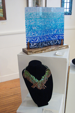 Blue Wave by Robin Flynn who was also at the opening and silicone and aluminum necklace by Karen Goeller