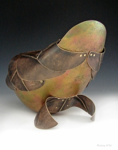 "Carapace ©2014 copper, brass 5 1/2""h x 6""w x 8""d $1825.00"
