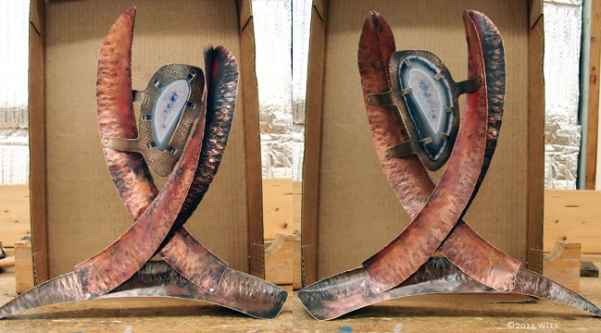 Both sides of the finished sculpture ©2014 WTEK brass, copper, amethyst agate slice