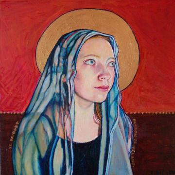 "St. Bridget, Patron of Ireland ©2010 Eleanor Day, 12"" x 12"", oil on masonite $350"