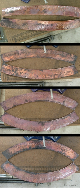 Progression of the curve(s) while forging the outside of the line folds in copper ©2014 WTEK