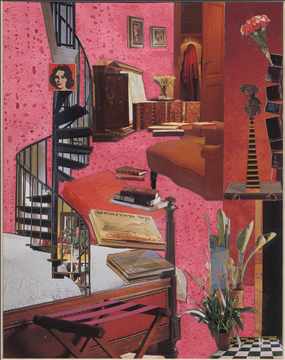"Red Staircase ©2012 Mimi Shapiro, 17"" x12"" Mixed Media Collage on Paper"