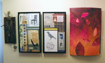 A wall in the inner room of JAM Gallery including 2 pieces by Greg Jaskot