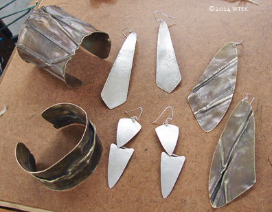 2 Brass Fold Formed Cuffs & 2 pairs of Silver Earrings ©2014 WTEK
