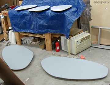 Another shot of the studio with the primed table tops.