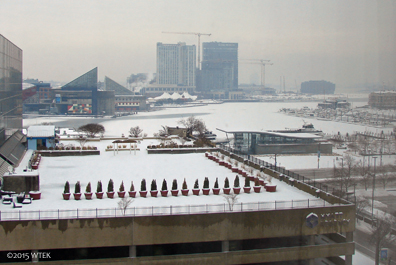 View Saturday morning of a FROZEN OVER Inner Harbor.