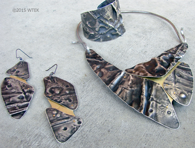 Air Chased Jewelry Set ©2015 WTEK sterling silver, brass