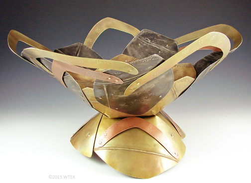 "Rose Bowl ©2015 WTEK brass, nickel, copper 7.75""h x 15""w x 12""d"