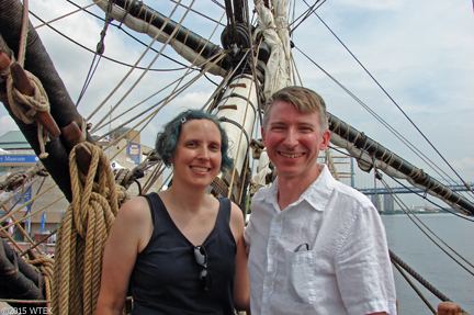 Sean & I on the deck of l'Hermione ©2015 WTEK