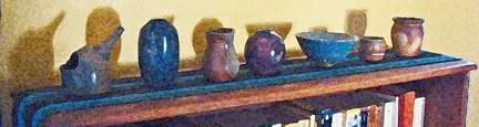 tiny pots on their shelf